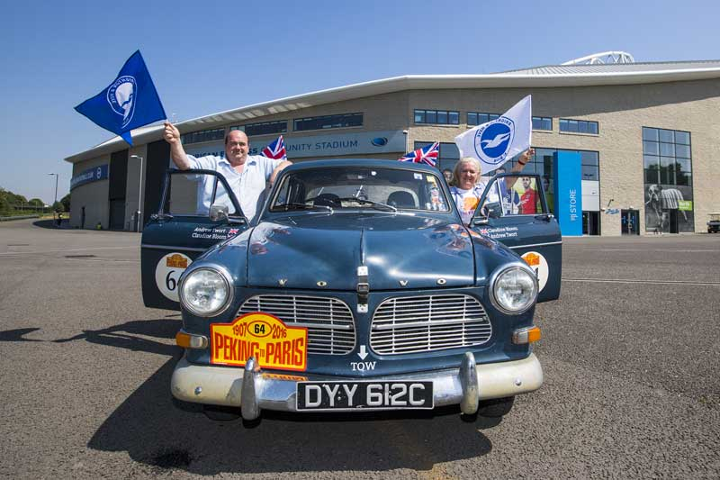 Claudine Bloom and Andy Twort enjoying a warm welcome home at the American Express Community Stadium, home of Brighton & Hove Football Club. Photos courtesy of Paul Hazlewood.